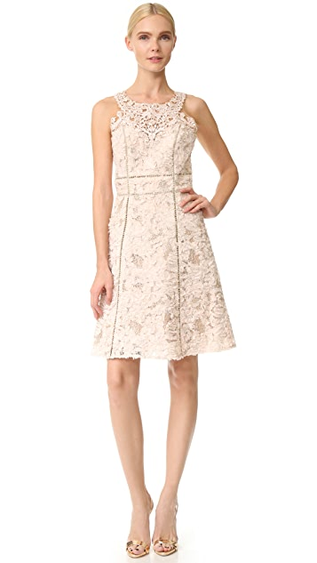 Marchesa Notte Textured Cocktail Dress