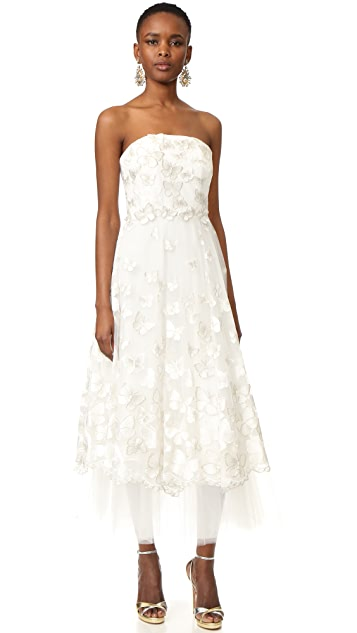 Marchesa Notte Strapless Butterfly Dress