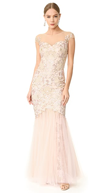 Marchesa Notte Cap Sleeve Gown