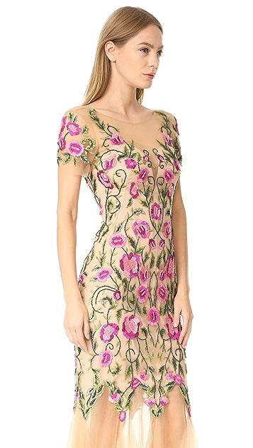 Marchesa Notte Вечернее платье из тюля с цветочным рисунком