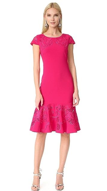 Marchesa Notte Laser Cut Short Sleeve Dress
