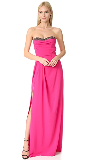 Marchesa Notte Strapless Crepe Gown