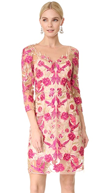 Marchesa Notte Embroidered Cocktail Dress ...