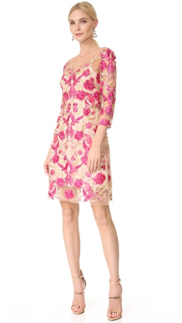 ... Marchesa Notte Embroidered Cocktail Dress ...
