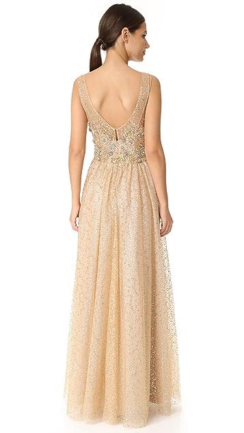 Marchesa Notte Вечернее платье Ball из тюля с блестками
