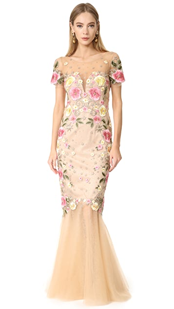 Marchesa Notte Floral Embroidery Gown