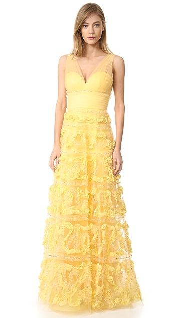 Marchesa Notte Бальное вечернее платье-трапеция