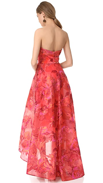 Marchesa Notte Strapless High Low Dress