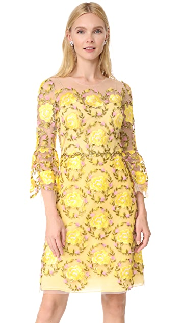 Marchesa Notte Embroidered Cocktail Dress with Flutter Sleeves