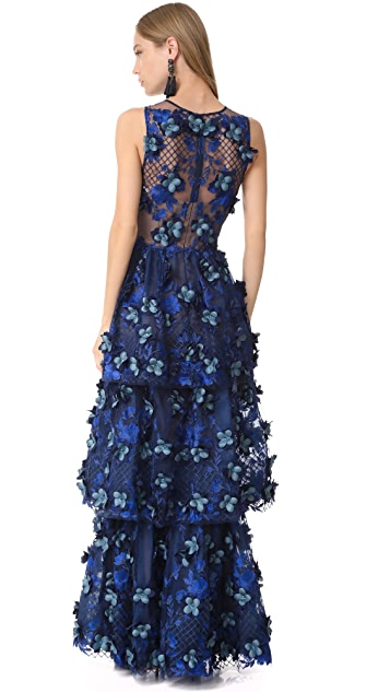 Marchesa Notte Embroidered Gown