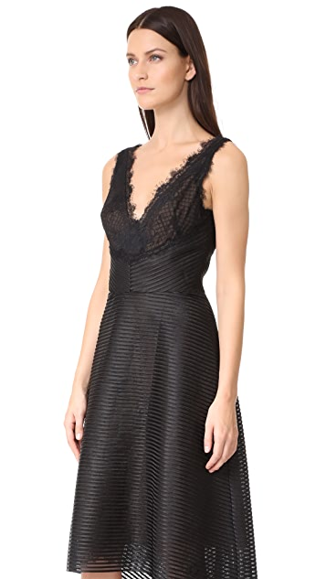 Marchesa Notte Ribbed High Low Dress