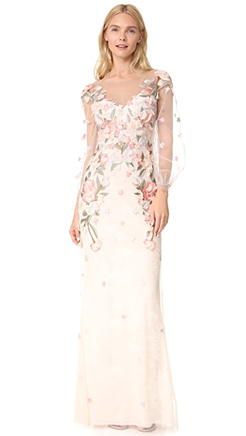 Marchesa Notte Beaded Gown with Bishop Sleeve