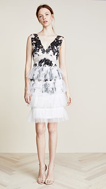 Marchesa Notte Embroidered V Neck Cocktail Dress