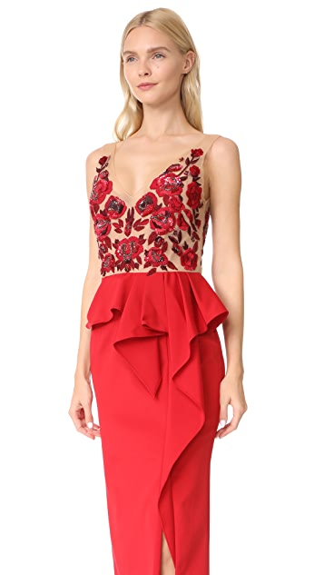 Marchesa Notte Faille A Line Gown with Peplum