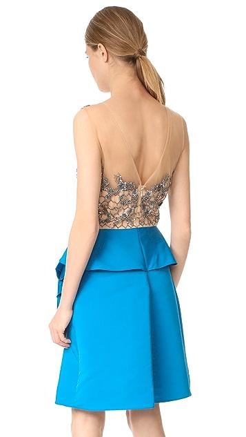 Marchesa Notte Drapped Faille Cocktail Dress