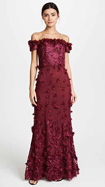 Marchesa Notte Off the Shoulder Embroidered Gown