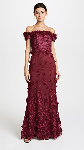 afda9056 Marchesa Notte Off the Shoulder Embroidered Gown | SHOPBOP