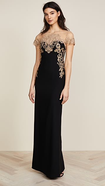 Marchesa Notte Stretch Crepe Grown - Black