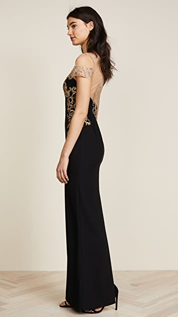 Marchesa Notte Stretch Crepe Grown