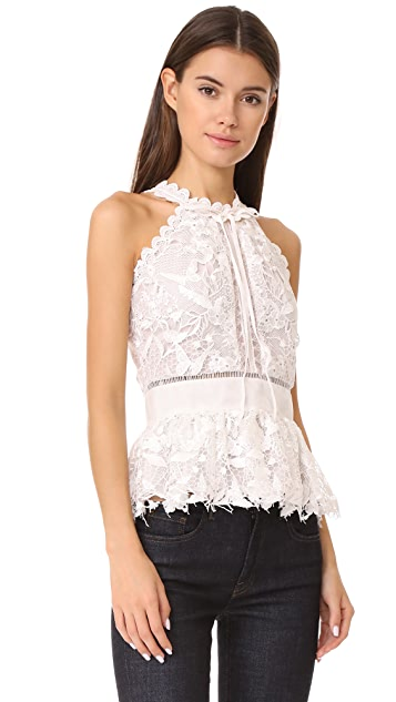 Marchesa Notte Guipure Sleeveless Cocktail Blouse