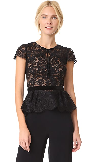 Marchesa Notte Lace Cap Sleeve Top