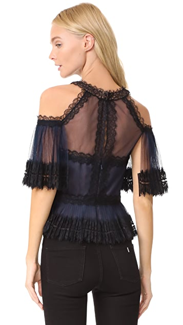 Marchesa Notte Pleated Tulle Cold Shoulder Top