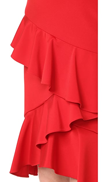 Marchesa Notte One Shoulder Cocktail with Ruffle