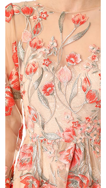 Marchesa Notte Embroidered Gown with Lace Slip