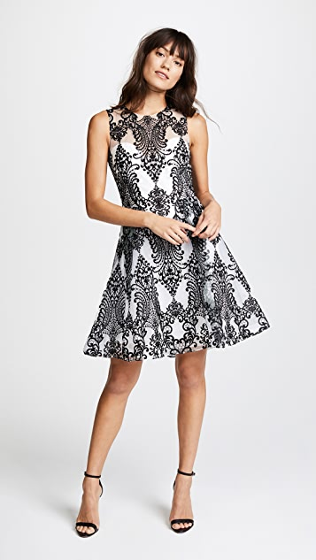 Marchesa Notte Embroidered Cocktail Dress