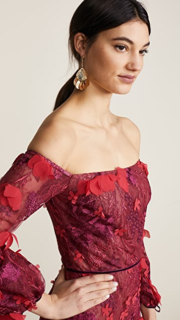 Marchesa Notte Off Shoulder Embroidered Gown