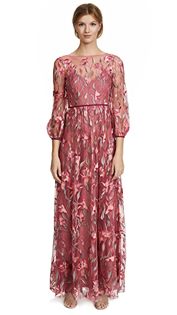 Marchesa Notte Embroidered Gown with Bishop Sleeve