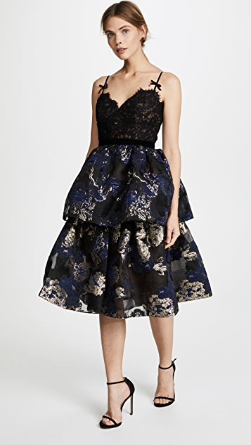 Marchesa Notte Two Tiered Cocktail Dress