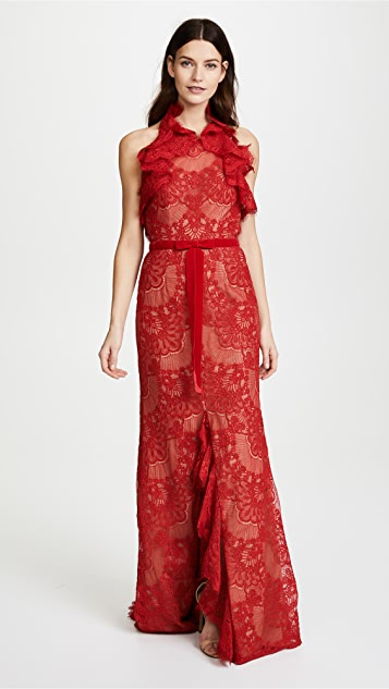 Marchesa Notte Double Ruffle Lace Gown