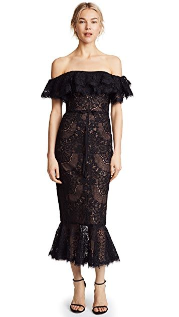 Marchesa Notte Off the Shoulder Lace Ruffle Cocktail Dress