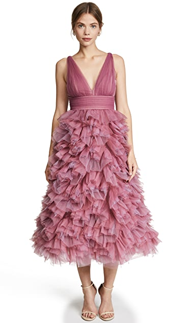 Marchesa Notte Draped Tulle Dress