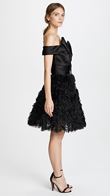Marchesa Notte Strapless Textured Cocktail Dress