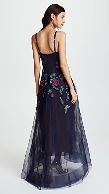 Marchesa Notte Corseted High Low Gown with Feather Embroidery