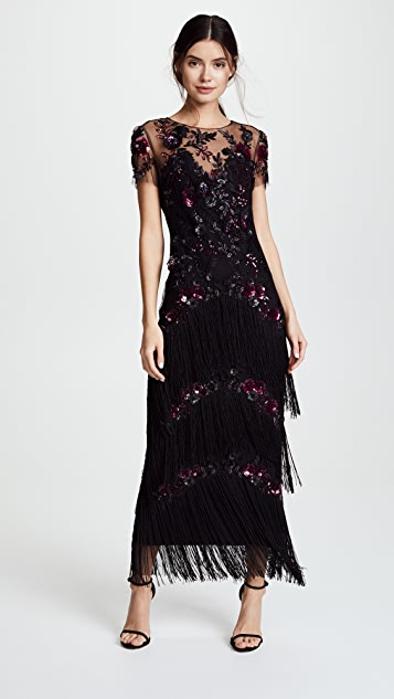 ab2eb0d7a2 Marchesa Notte Short Sleeve Embroidered Fringe Tiered Gown | SHOPBOP