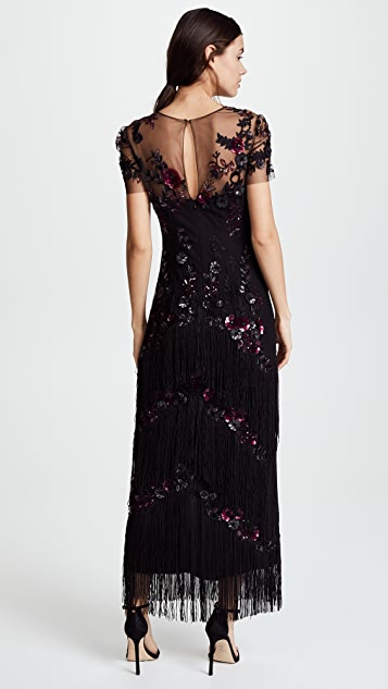 Marchesa Notte Short Sleeve Embroidered Fringe Tiered Gown