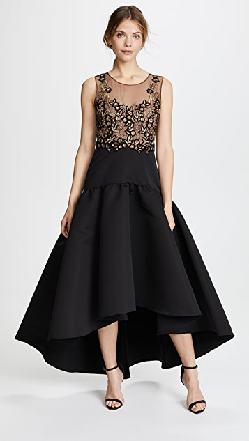 Marchesa Notte Sleeveless High Low Dress with Embroidery