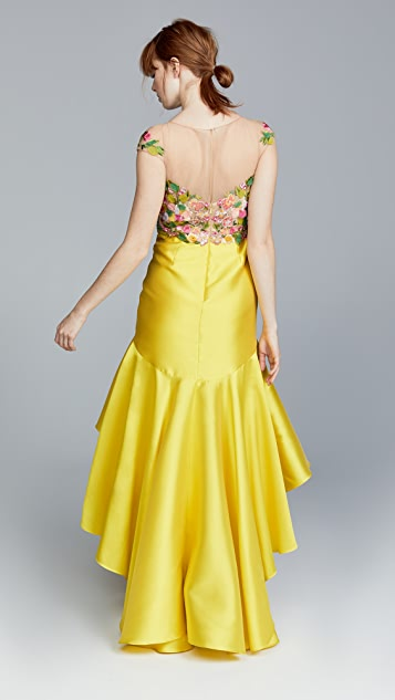 Marchesa Notte Cap Sleeve High Low Embroidered Dress