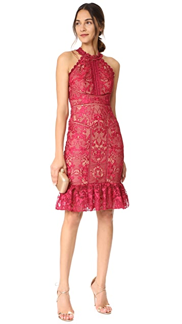 Marchesa Notte Guipure Sleeveless Cocktail with Ruffle Hem
