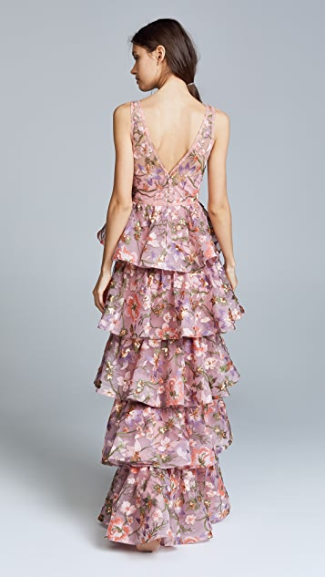 Marchesa Notte Multi Tiered Gown