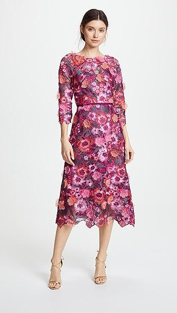 f9231d44e6c Marchesa Notte Коктейльное платье из кружевного гипюра с цветочным рисунком  3D ...
