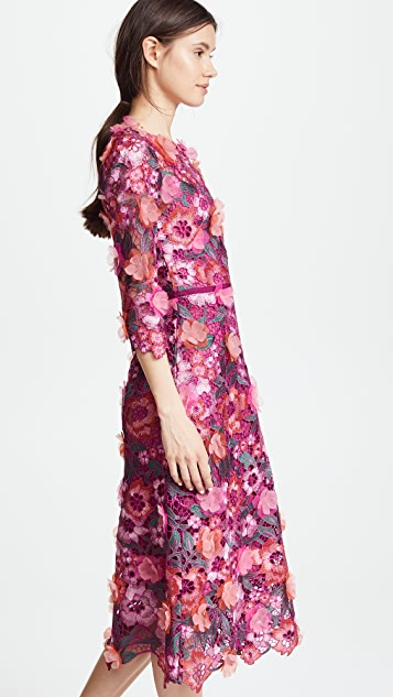 Marchesa Notte Guipure Lace Cocktail Dress with 3D Flowers
