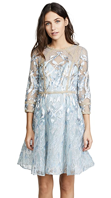 Marchesa Notte Cocktail Dress with Metallic Lace Trim