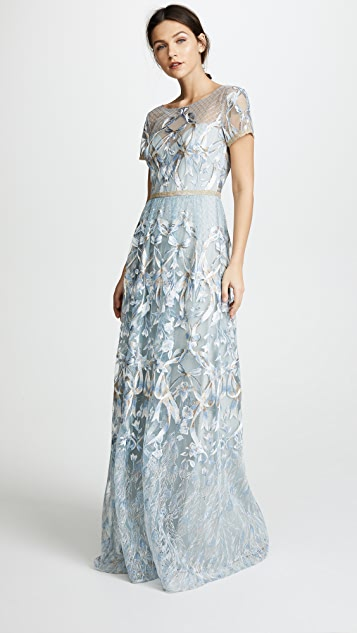 2eb2f2f905a Marchesa Notte Embroidered Gown with Metallic Lace Trim | SHOPBOP