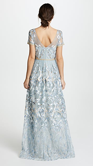 Marchesa Notte Embroidered Gown with Metallic Lace Trim