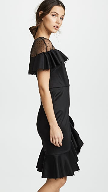 Marchesa Notte Neoprene Cocktail Dress with Point d'Esprit Yoke & Ruffles