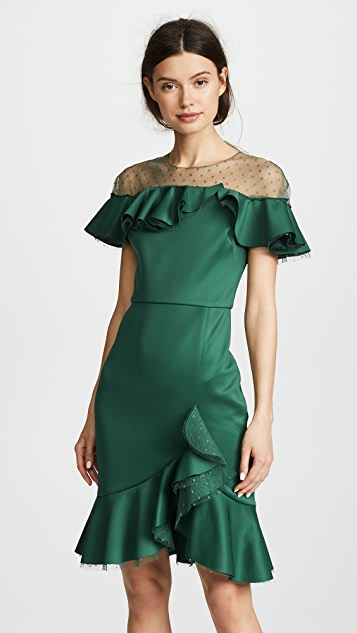 Marchesa Notte Neoprene Cocktail Dress with Poin d'Esprit Yoke & Ruffles